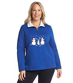 Breckenridge® Plus Size Embroidered Half Zip Fleece Sweatshirt