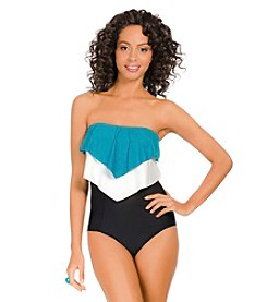 ECO SWIM by AquaGreen Colorblock Layered Ruffle One Piece Swimsuit