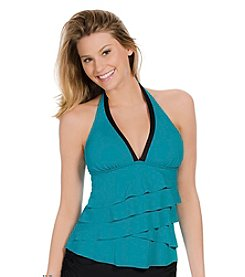 ECO SWIM by AquaGreen® Layered Ruffle Halterkini Top