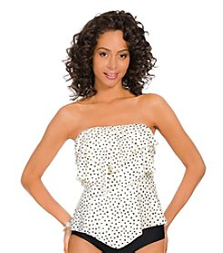 ECO SWIM by AquaGreen® Speckled Dot Layered Ruffle Bandini Top