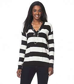 Chaps&Reg; Striped V-Neck Sweater