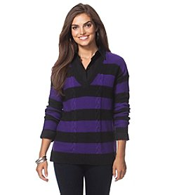 Chaps® Striped V-Neck Sweater