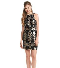 Trixxi® Geo Print Velvet Dress