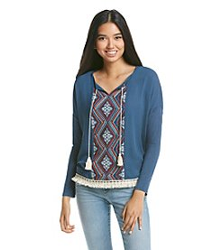 Sequin Hearts® Geo Print Peasant Top
