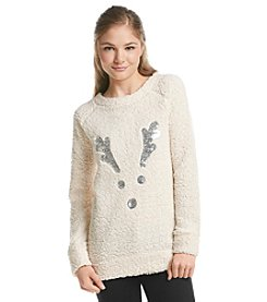 Wallflower® Sherpa Reindeer Pullover Sweater