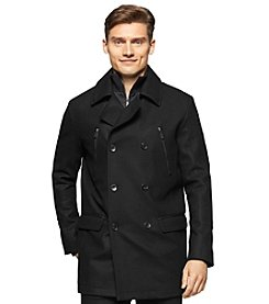 Calvin Klein Men's Wool Pea Coat With Bib & Chest Zip Detail