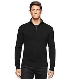 Calvin Klein Men's 1/4 Zip Mock-Neck Sweater