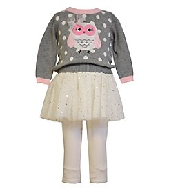 Bonnie Jean® Baby Girls' 12-24M Owl Knitted Sweater and Skirt Set