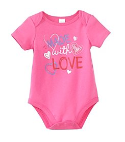 Cuddle Bear Baby Girls' Made With Love Onesie