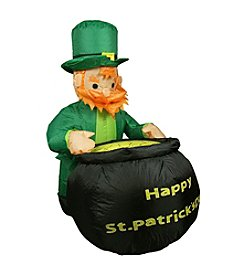 4' Inflatable Lighted Leprechaun with Pot of Gold St. Patrick's Day Yard Decoration