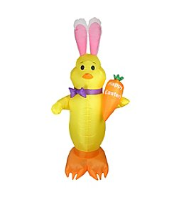 6' Inflatable Lighted Easter Chick with Carrot Yard Decoration