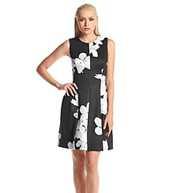 Calvin Klein Floral Scuba Fit And Flare