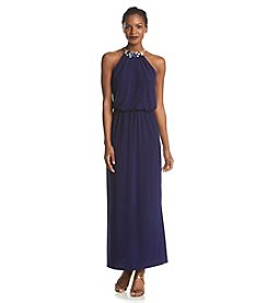 MSK® Jewel Neck Halter Maxi Dress