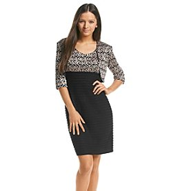 R&M Richards® Petites' Scroll Patterned Jacket Dress