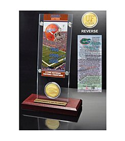 NCAA University of Florida 3-Time National Champions Ticket & Bronze Coin Desktop Acrylic