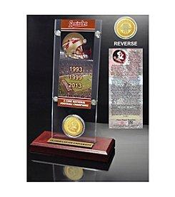 NCAA® Florida State University 3-Time National Champions Ticket & Bronze Coin Desktop Acrylic