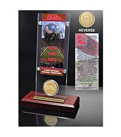 NCAA® University of Mississippi 3-Time National Champions Ticket & Bronze Coin Acrylic Desktop