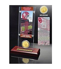 NCAA® University of Oklahoma 7-Time National Champions Ticket & Bronze Coin Desktop Acrylic