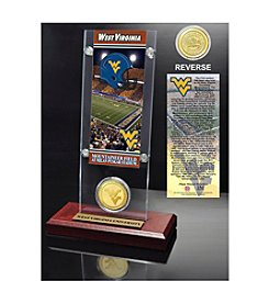 NCAA® West Virginia University Ticket & Bronze Coin Desktop Acrylic