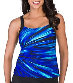 Active Spirit® Coastal Blues Framed Tankini Top