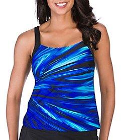 Active Spirit® Coastal Blues Framed Tankini Top