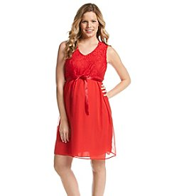 Three Seasons Maternity™ Sleeveless Belted Lace Chiffon Dress