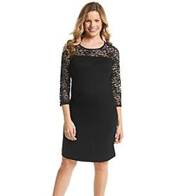 Three Seasons Maternity™ 3/4 Lace Sleeve & Yoke Dress