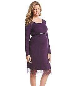 Three Seasons Maternity™ Belted Lace Hem Knit Dress