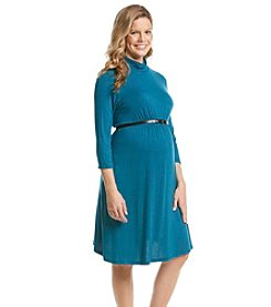 Three Seasons Maternity™ 3/4 Sleeve Belted Mock Neck Knit Dress