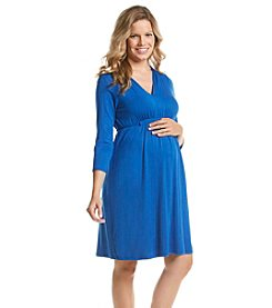 Three Seasons Maternity™ 3/4 Sleeve Belted V-Neck Knit Dress