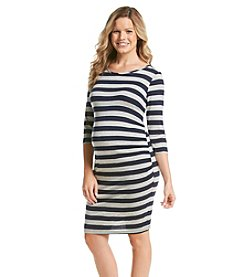 Three Seasons Maternity™ 3/4 Sleeve Striped Knit Dress