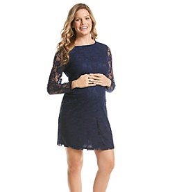 Three Seasons Maternity™ Long Sleeve Floral Lace Dress