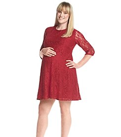 Three Seasons Maternity™ Plus Size 3/4 Sleeve Lace Dress