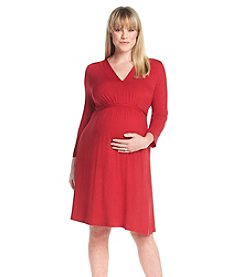 Three Seasons Maternity™ Plus Size 3/4 Sleeve Belted V-Neck Knit Dress