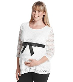 Three Seasons Maternity™ Plus Size 3/4 Sleeve Belted Lace Top