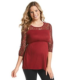 Three Seasons Maternity™ 3/4 Lace Sleeve & Yoke Top