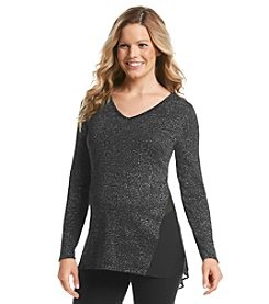 Three Seasons Maternity™ Long Sleeve Lurex & Sheer Top