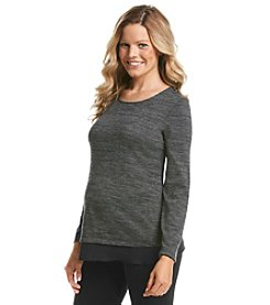 Three Seasons Maternity™ Long Sleeve Chiffon Hem Hatchi Top