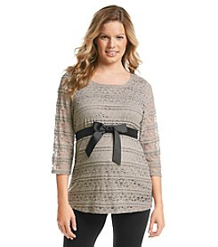 Three Seasons Maternity™ 3/4 Sleeve Belted Lace Top