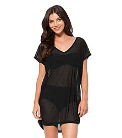 Anne Cole® Solids Mesh V Neck Cover Up