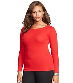 Lauren Ralph Lauren® Plus Size Stretch Cotton Ballet Neck Top