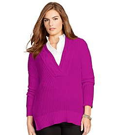Lauren Ralph Lauren® Plus Size Cotton V-Neck Sweater