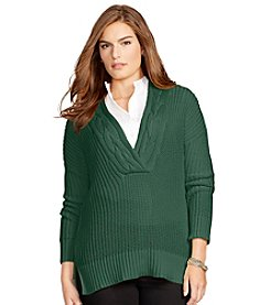 Lauren Ralph Lauren ® Plus Size Ribbed Cotton Sweater