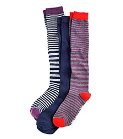 Steve Madden 3-Pack Stripe Knee High Socks