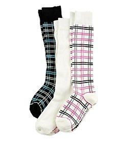 Steve Madden 3 Pack Plaid Knee High Socks