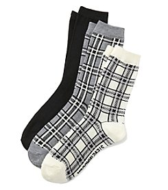Steve Madden 3-Pack Plaid Crew Socks