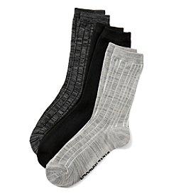 Steve Madden 3 Pack Marl Solid Crew Socks