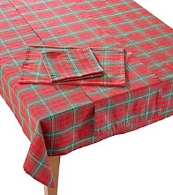 LivingQuarters Holiday Plaid Table Linens