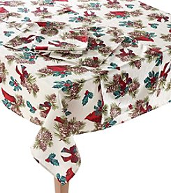 LivingQuarters Cardinal Pinecone Table Linens