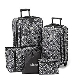 Relativity® Black Daisy Expandable 5-pc. Luggage Set